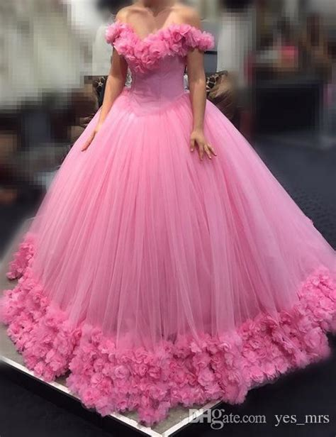 30618 Pink Sweet Offshoulder Dress 2017 pink quinceanera gown dresses shoulder cap sleeves tulle with flowers