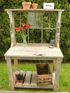 Potting Bench Plans Rustic Potting Bench With Window Dream Garden Woodworks