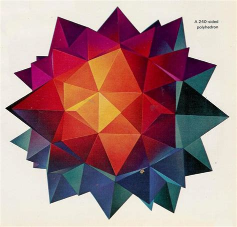 Origami Hedron - colorful polyhedron abstract science