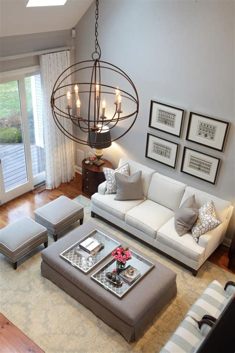 Gray Living Room Palette High Ceilings And Stylish Design This Living Room Uses A