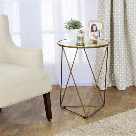 metal accent table with glass top homepop metal accent table triangle gold base glass