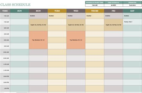 7 day weekly schedule calendar template 2016
