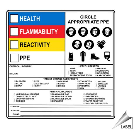 Hazardous Material Hazmat Sds Msds And Right To Know Signs Msds Label Template