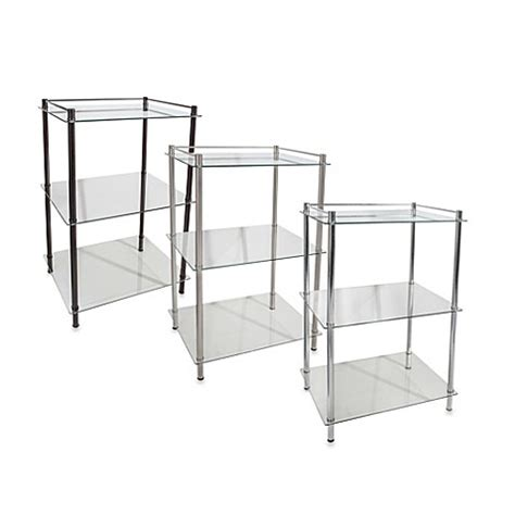 bed bath and beyond shelving decopolitan rectangle glass 3 shelf tower bed bath beyond