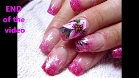 youtube nail art tutorial glitter glitter acrylic nails tutorial one stroke lily nail art