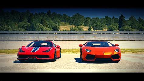 Lamborghini V S Ferrari by Bugatti Vs Lamborghini Vs Ferrari Race Www Imgkid
