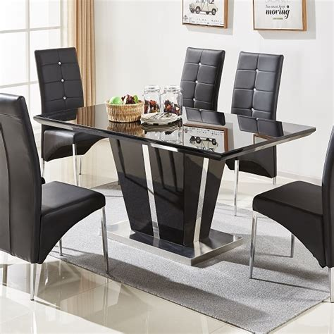 Black Gloss Dining Room Furniture Glass Dining Table In Black Gloss And Chrome Base