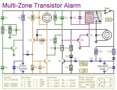 multi zone transistor based burglar alarm circuit diagram