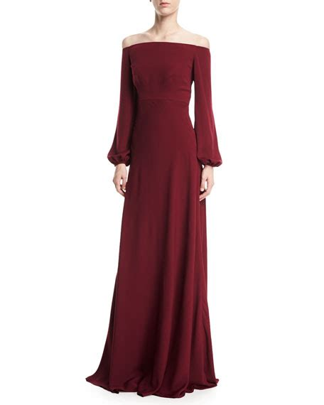 Sleeve A Line Evening Gown stuart the shoulder blouson sleeve a line