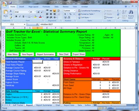 golf tracker for excel download