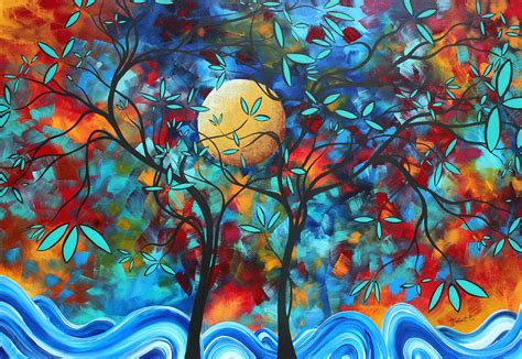 Lukisan Abstrak Ekosyaiful The Moon In Your abstract contemporary colorful landscape painting moon by madart painting by megan duncanson