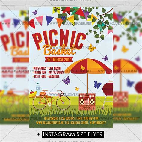 Picnic Basket Premium A5 Flyer Template Exclsiveflyer Free And Premium Psd Templates Summer Picnic Flyer Template