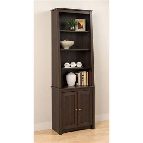 prepac 6 shelf slant back bookcase with doors espresso