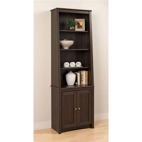 bookshelves at walmart prepac 6 shelf slant back bookcase with doors espresso walmart