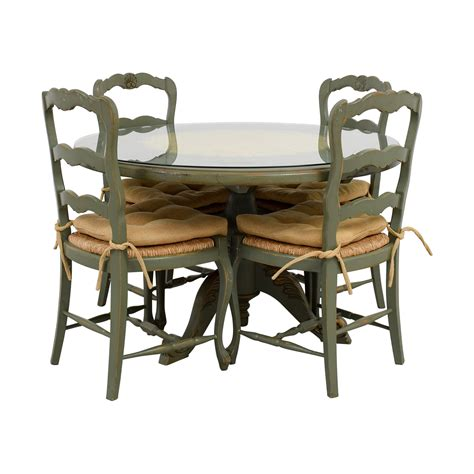 country kitchen tables with benches 84 off hand painted country style kitchen table and