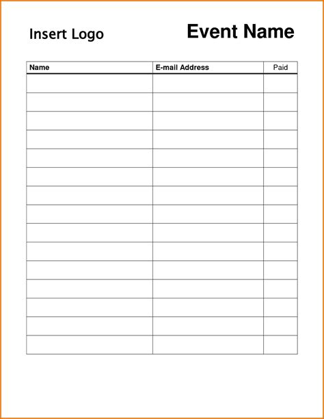 template sheets 8 printable sign up sheet templatereference letters words