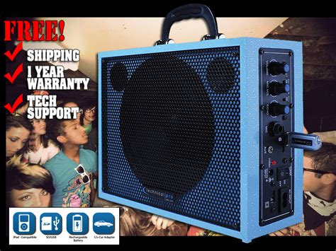 Blueants Blue Sonic Portable Speakers Play Your Phones Via Bluetooth by Technical Pro Wasp300 Light Blue Portable Rechargeable