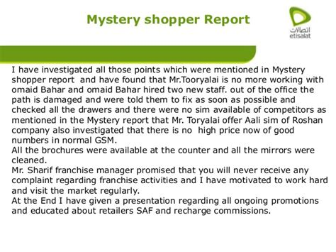 mystery shopper report sle market visit report telecomunication