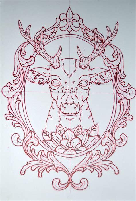 frame design drawing deer and mirror frame by avengedginge on deviantart