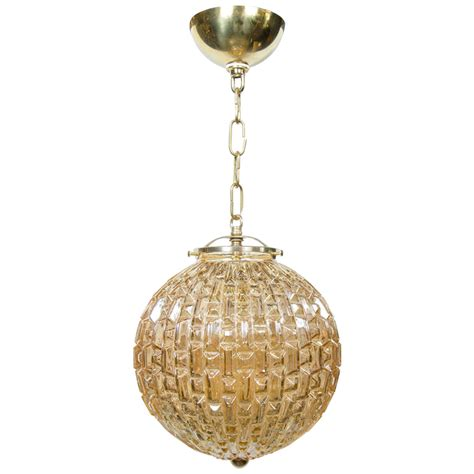 glass globe chandelier mid century modernist prism molded glass globe pendant