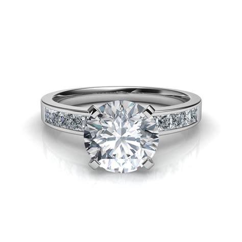 channel set cut engagement ring