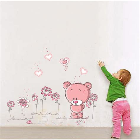 stickers chambre enfant fille pink nursery baby children bedroom wall decals diy home decoration wall