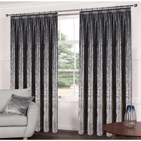 Steel Grey Curtains Luxe Steel Grey Crushed Velveteen Ready Made Curtains C H