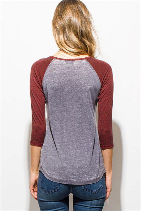 Raglan Bouton Tunic Light Gray Gray shop wholesale womens gray and burgundy graphic