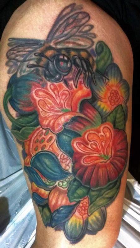 flower garden tattoos freehand flower garden and bee by adam aguas tattoonow