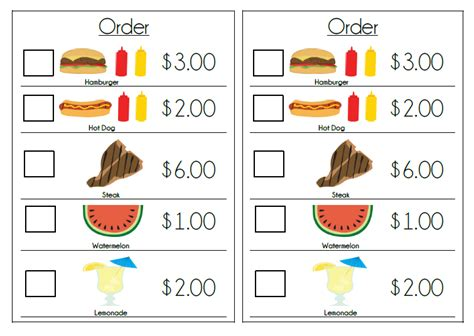 Play Kitchen Menu by Templates Printable Grocery Shopping Lists Grocery List