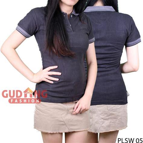 Kaos Polo Wanita Plsw 01 kaos wanita lengan pendek kerah polo cotton pique abu