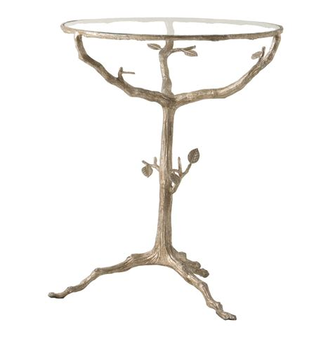 tree branch end table sherwood sculpted tree branch light gold pedestal side table