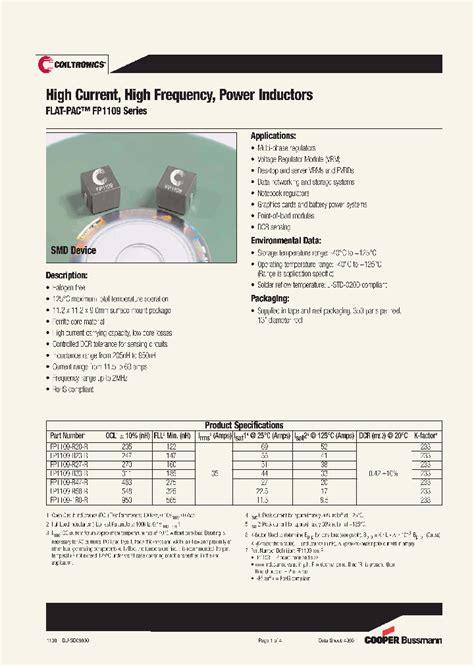 power inductor purpose fp1109 1r0 r 4410401 pdf datasheet ic on line