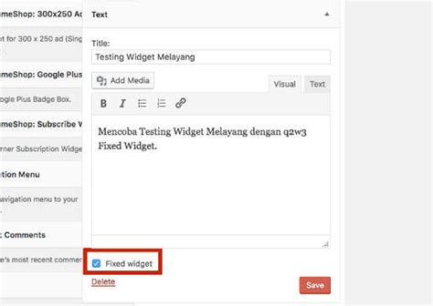 membuat widget footer wordpress tutorial membuat widget fixed atau melayang pada wordpress