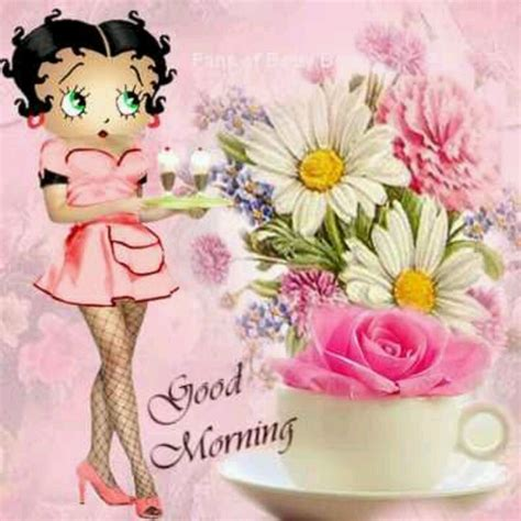 Eceran Coffee Moment morning coffee cup w flowers betty boop