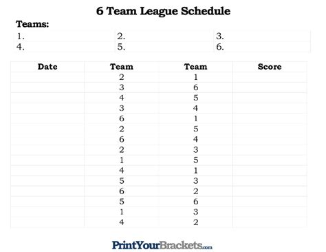 Printable 6 Team League Schedule 10 Team League Schedule Template