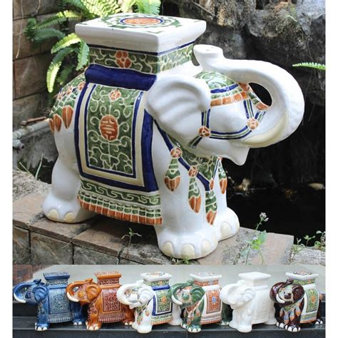Porcelain Elephant Stool by International Caravan Large Porcelain Elephant Stool 13680842 Overstock Shopping Great