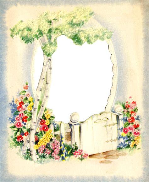 antique images flower garden  digital frame printable