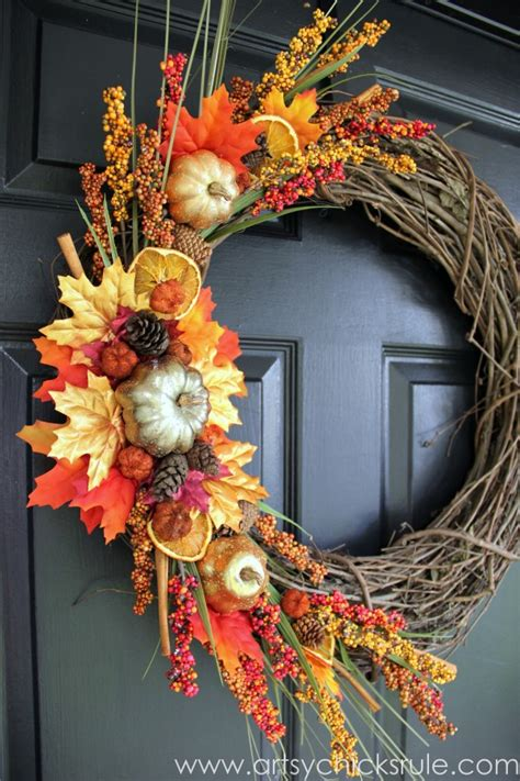 diy fall wreath fall themed tour artsy chicks rule 174