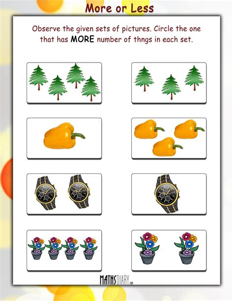More Or Less Worksheets