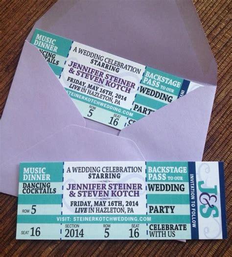 concert ticket save the date diy printable wedding