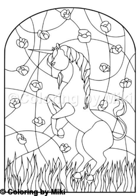 unicorn stained glass coloring page