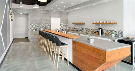 modern design coffee shop this modern coffee shop has a palette of grey white and