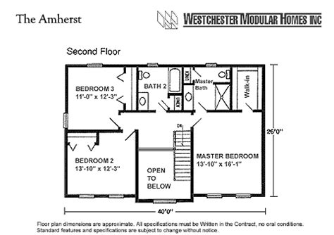 2000 square foot house plans two story amherst by westchester modular homes two story floorplan