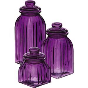 new purple glass jars 3pc canisters kitchen decor storage violet home accent