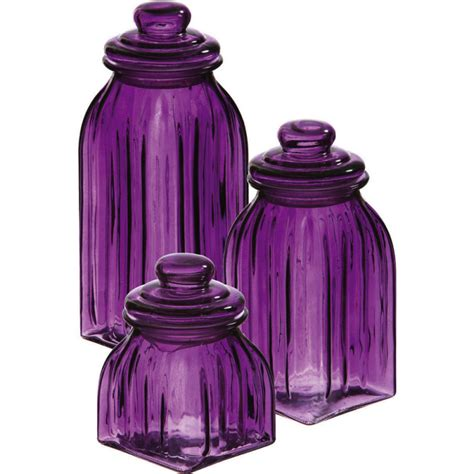 new purple glass jars 3pc canisters kitchen decor storage