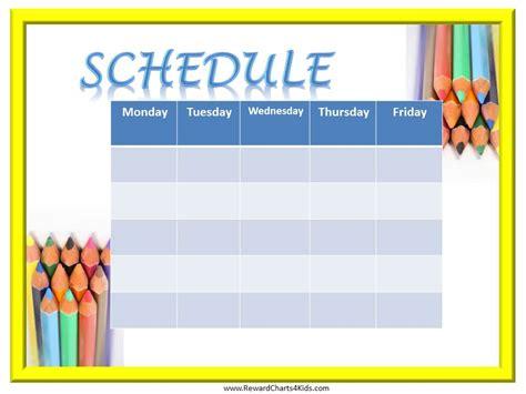 printable schedule for school class schedule