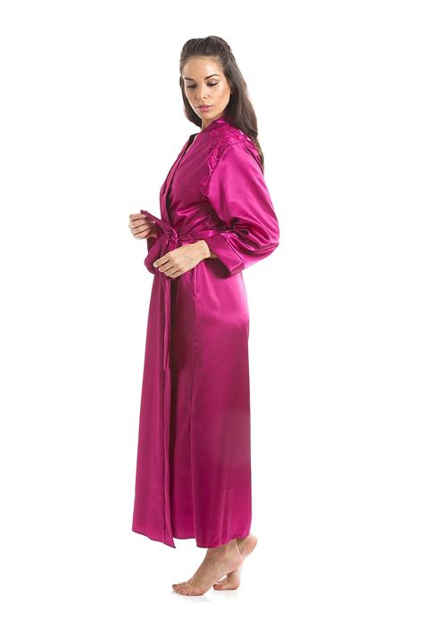 Luxury Pink luxury pink satin length dressing gown wrap