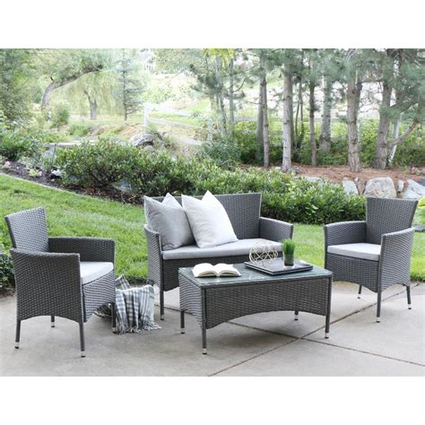 Patio Furniture Company by Walker Edison Furniture Company Grey Rattan 4 Patio