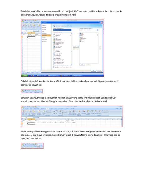 membuat form di excel 2003 cara membuat input data di excel dengan form